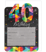 Invitation & Envelope Set - 40th Birthday 16 pk