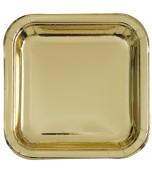 Plates - Dinner, Square Metallic Gold 8 pk