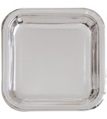 Plates - Dinner, Square Metallic Silver 8 pk