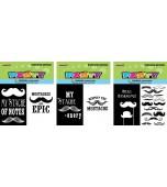 Note Books - Moustache 8 pk, Assorted