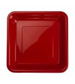 Plates - Dessert, Square Red 20 pk