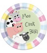 Plates - Dinner, Farm Animals Pastel 8 pk