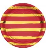 Plates - Dinner, Red & Gold Foil Stripes 8 pk