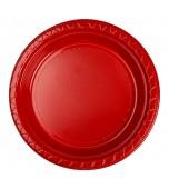 Plates - Dinner, Round Red 20 pk