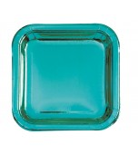 Plates - Dinner, Square Metallic Teal 8 pk