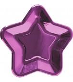 Plates - Dinner, Star Metallic Pink 8 pk