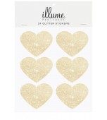 Stickers - Glitter Hearts, Gold 24 pk