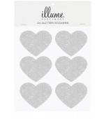 Stickers - Glitter Hearts, Silver 24 pk