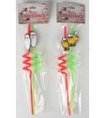 Straws - Christmas, Spiral Assorted 2 pk