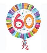 Balloon - Foil, Radiant Happy Birthday 60 Round