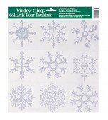 Cling - Snowflakes, Silver Glitter Assorted