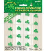 Ceiling/Hanging Decoration - Shamrocks, Prismatic 4 pk