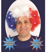 Wig - Afro, Red White & Blue Flashing