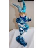 Christmas Ornament - Elf, Blue/Silver