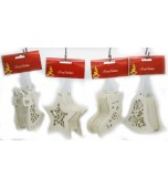 Christmas Ornament - White Glitter, Light Up Assorted