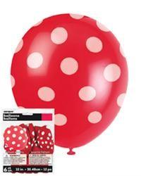 Balloons - Polka Dots Red 6 pk